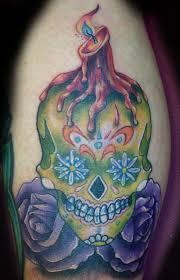 sugar skull burning candle tattoo drawing photo 4 2017