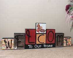 personalized home decor signs seasonal welcome wood sign decorative blocks personalized home