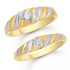 couples rings gold images Buy vk jewels single stone gold brass alloy cz american diamond jpg
