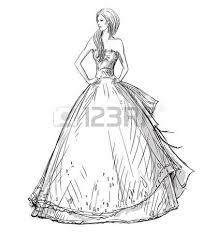fashion hand drawn illustration vector sketch long dress