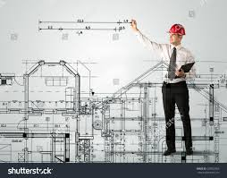 house measurements young architect planning drawing family house stock photo