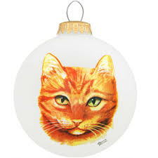 tabby cat glass ornament bronner s