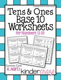 base 10 worksheets tens and ones for numbers 11 19 by maria gavin