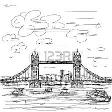 tower bridge in london hand drawn vector isolated on white royalty