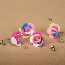diy earring studs 2pairs lots 18mnm3d handmade polymer clay fimo artistic small