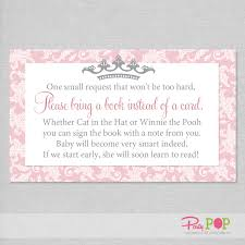 princess damask baby shower book request card party pop