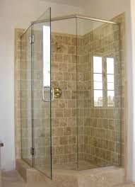 upstairs bathroom corner shower pinteres glorious single swing shower door as glass shower panels with chrome handle frameless door in corner shower cubicle and subway brown wall shower tile ideas