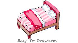 Drawing Of A Bed How To Draw A Cartoon Pink Bed With Pillows Free U0026 Easy Tutorial