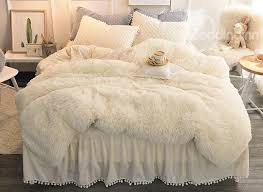solid gray simple style quilting bed skirt fluffy 4 piece bedding