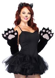 Hello Kitty Costume Halloween Black Furry Cat Paw Costume Accessory Gloves Amiclubwear Costume
