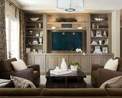 Traditional Family Room With No Fireplace And Builtin Media And - Family room entertainment