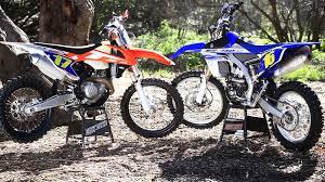 ktm motocross bikes 2016 ktm 450 xcf versus 2016 yamaha yz 450 fx dirt bike magazine