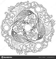 vector illustration of three ravens viking celtic ornament
