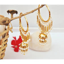 punjabi jhumka earrings 2 tier waterfall gold bali jhumkas