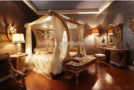 King Size Canopy Bed Sets Luxury French Rococo Style Wood Carved Marquetry Canopy Bed Royal