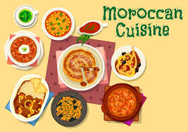 moroccan cuisine traditional dishes icon design stock vector