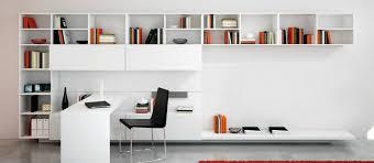 meuble bibliothèque bureau intégré bureau blanc laqué design superbe espace bureautique très