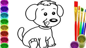how to draw a dog coloring pages drawing for children learning