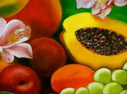 flowers fruit fruits and flowers painting by diaz