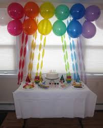 Simple Table Decorations by Decorating With Streamers The Display Table With Rainbow
