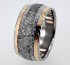 deer antler wedding band meteorite ring deer antler wedding band with 18k gold titanium