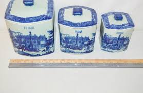 collectible canister set victoria ware ironstone cobalt blue flow