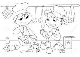 young boy and cooking black and white illustration royalty