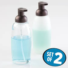 Clear Bathroom Accessories by Amazon Com Mdesign Glass Foaming Soap Dispenser Pump 2 Pc