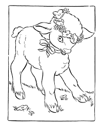 Easter Flower Coloring Pages - easter lamb coloring page cute lamb with flowers in its hair