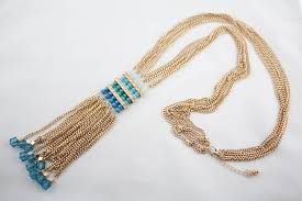 multi chain necklace images Vintage long heavy gold tone multi chain blue faceted beads tassel jpg