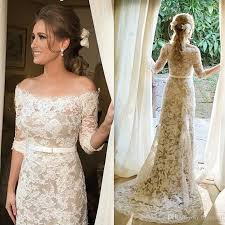 outdoor wedding dresses discount lace wedding dresses with half sleeves shoulder