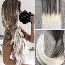 16 Inches Hair Extensions by Full Shine 16 Inch 50gram 20 Pcs Silver Blonde Balayage Tape In