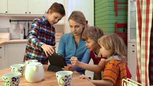 happy family spends time in the kitchen happy family concept