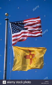American State Flags Usa New Mexico American And New Mexico State Flags Fly From Flag
