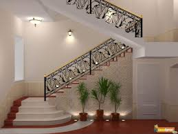 interior luxury staircase design with iron steel wall ceramics