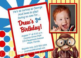 curious george inspired monkey birthday photo invitation
