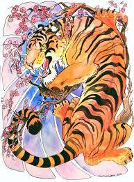 tiger in cherries painting jenn cunningham tu