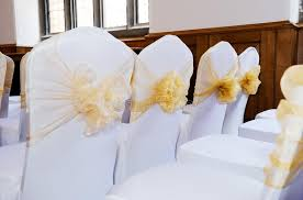 yellow chair covers wedding chair covers stock photo image 33598900