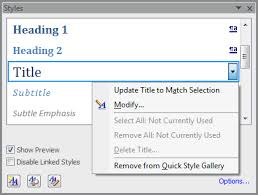 Change Table Style Word Windows Get Table Of Contents To Include Title Style User