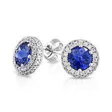 blue stud earrings cz sapphire color crown set stud earrings 925 sterling silver