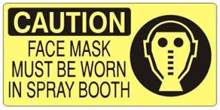 photo booth sign caution mask must be worn in spray booth sign