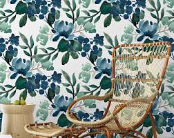 self adhesive wallpaper blue bohemian watercolor removable wallpaper boho self adhesive