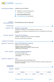 Cv Sjabloon Nederlands het europass cv sollicitatiedokter