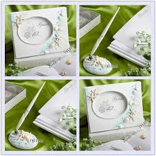 guest book and pen set theme summer destination sea shell and wedding guest