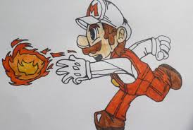 fire mario drawing super mario bros speed drawing speed art