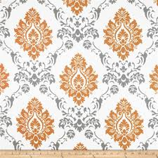 rca sheers damask orange grey discount designer fabric fabric com
