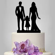 family wedding cake topper bride and groom with little