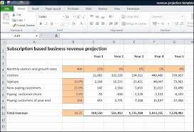 subscription based business revenue projection plan projections