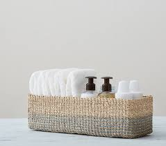 Changing Table Storage Baskets Blue Abaca Changing Table Storage Pottery Barn