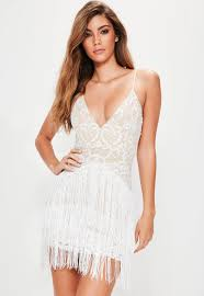 white party dresses white embroidered tassel detail bodycon dress missguided